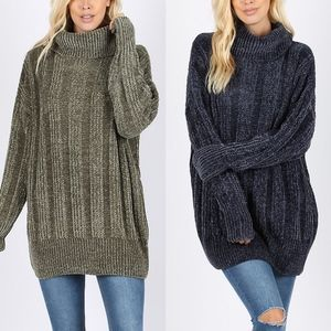 CANDACE Chenille Sweater - OLIVE/NAVY